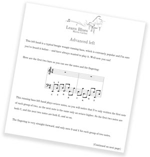 Blues piano lessons sheet music