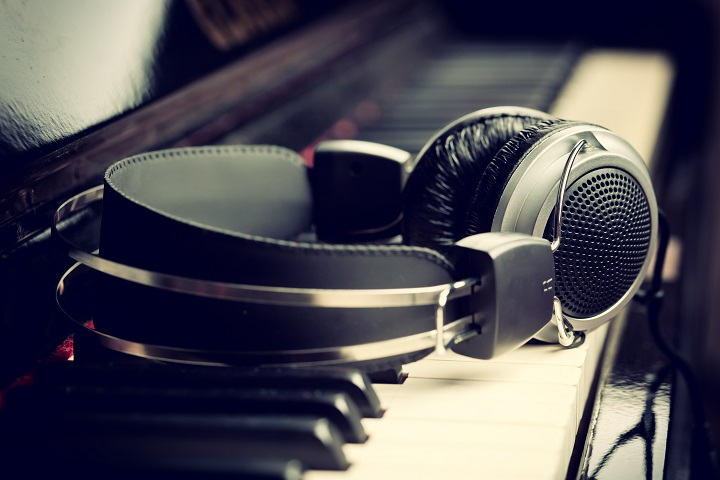 Headphones on piano