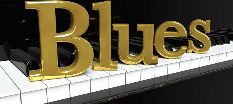 Blues concept on piano keys