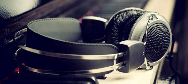 Headphones on blues piano