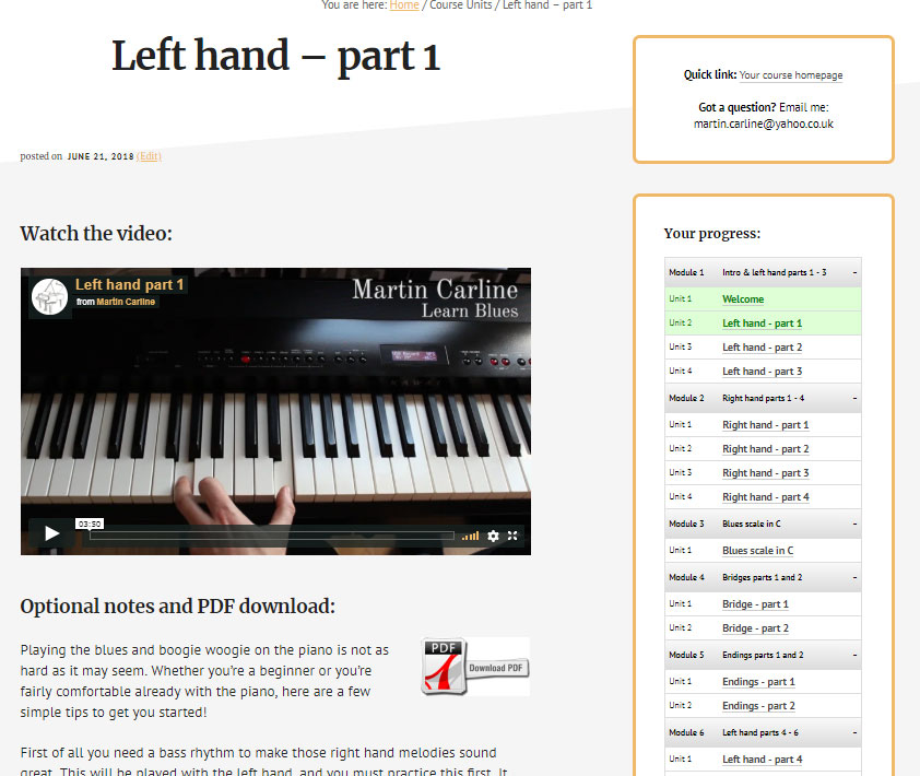 The course - Learn Piano Blues